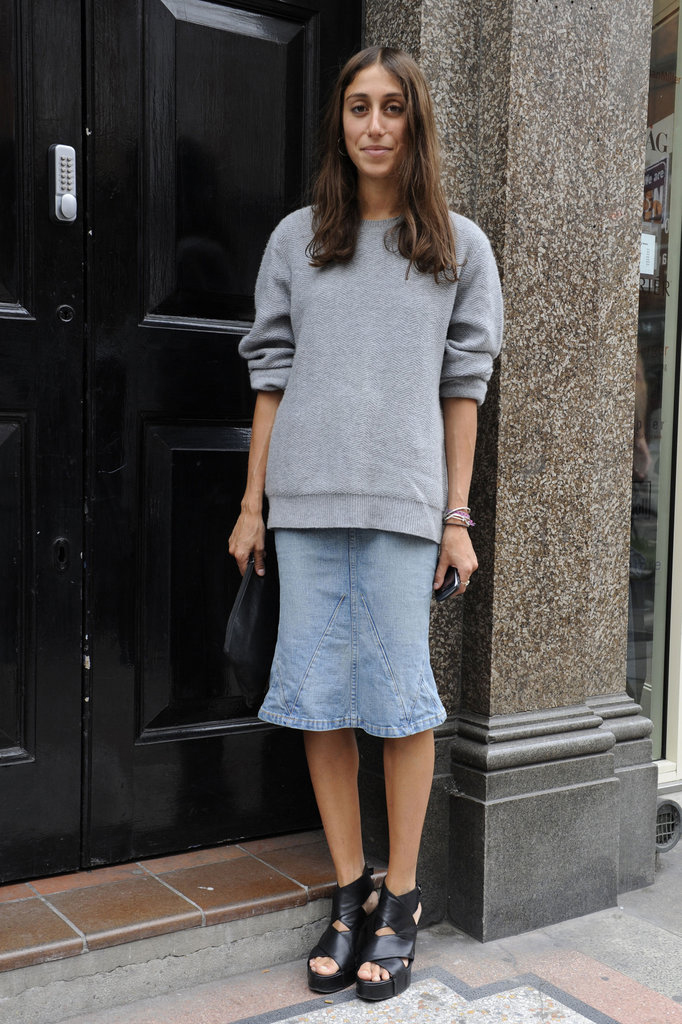 London-Fashion-Week-Street-Style-denim-skirt